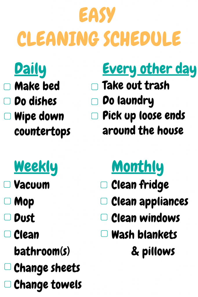 easy cleaning schedule checklist daily weekly monthly cozy home hacks
